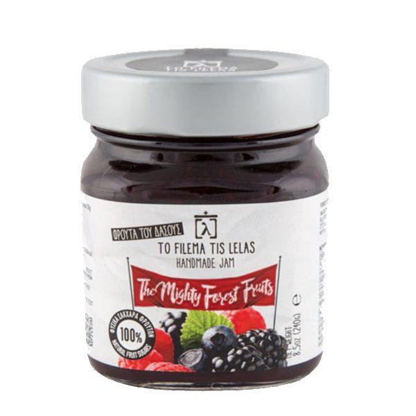 """Μαρμελάδα 240gr """"Φρούτα του Δάσους"""" χωρίς ζάχαρη σε βάζο"""