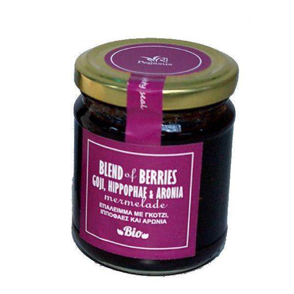 Βιολογική Μαρμελάδα Blend of Berries με BIO Σιρόπι Αγαύης σε γυάλινο βάζο