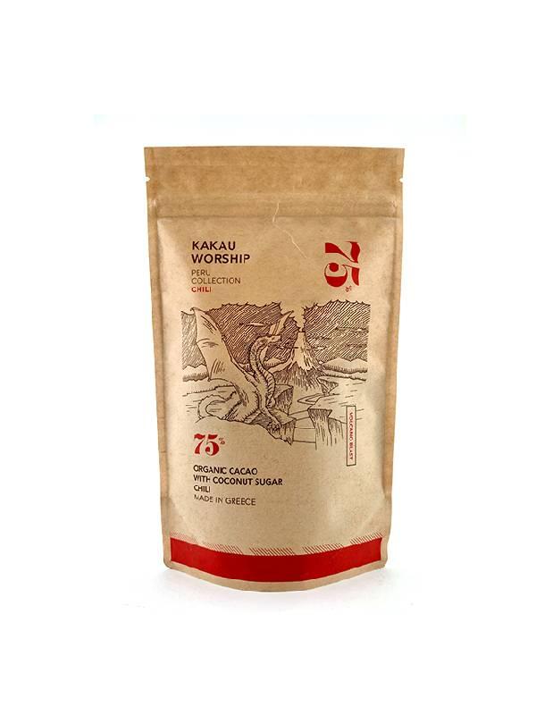 ΒΙΟ 75% Κακάο με Τσίλι σε χάρτινη συσκευασία