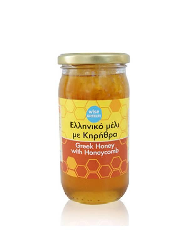 Μέλι με κηρήθρα σε βάζο