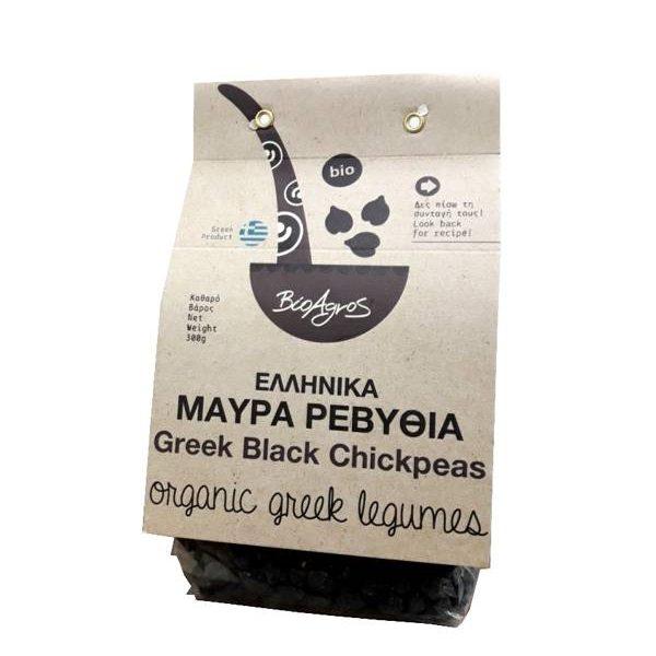 Ρεβύθια Μαύρα Βιολογικά σε διάφανη συσκευασία με χάρτινη ετικέτα