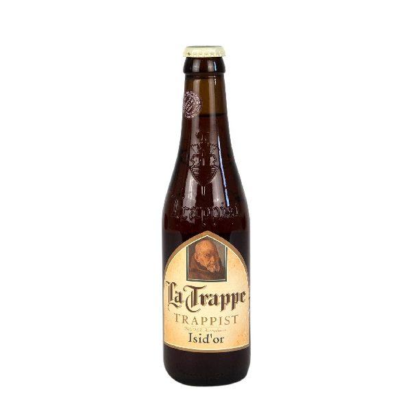 Μπύρα la Trappe Isid'or σε σκούρο μπουκάλι με χρυσό καπάκι.