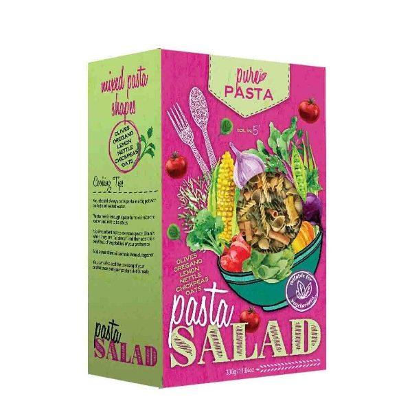 πολύχρωμα ζυμαρικά για σαλάτα σε ζωηρή συσκευασία
