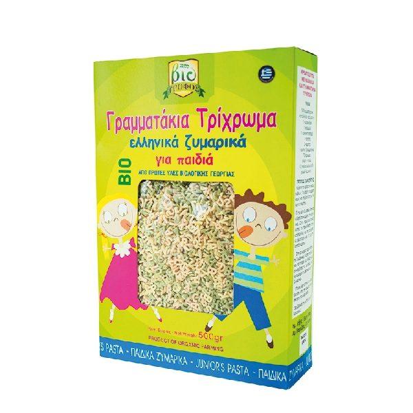 βιολογικά ζυμαρικά για παιδιά γραμματάκια σε χάρτινο κουτί.