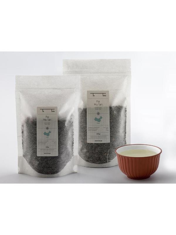 λευκό τσάι Pai Mu Tan σε διάφανη συσκευασία