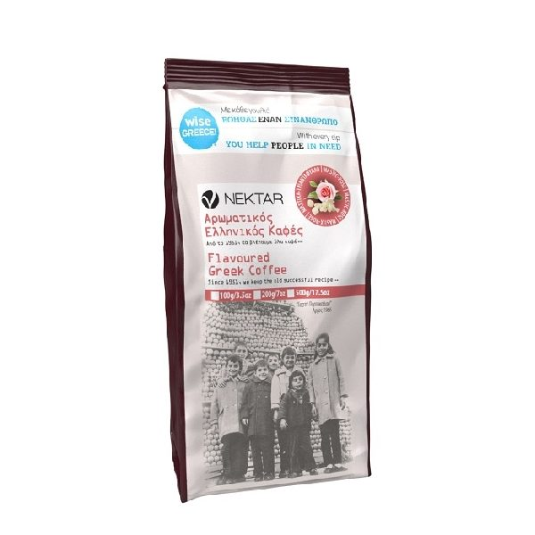 ελληνικός καφές με τριαντάφυλλο σε σακουλάκι