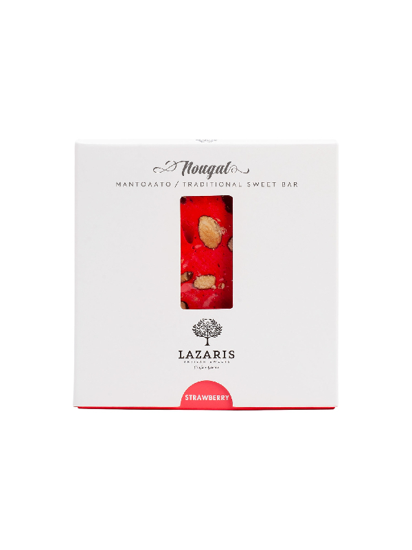 μαντολάτο με φράουλα σε χάρτινη συσκευασία