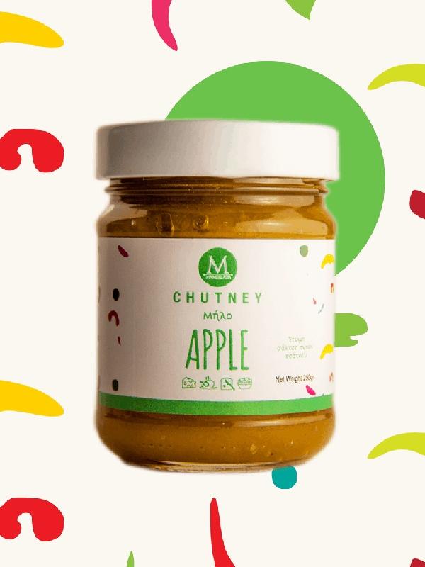 chutney μήλου με κανέλα σε βάζο