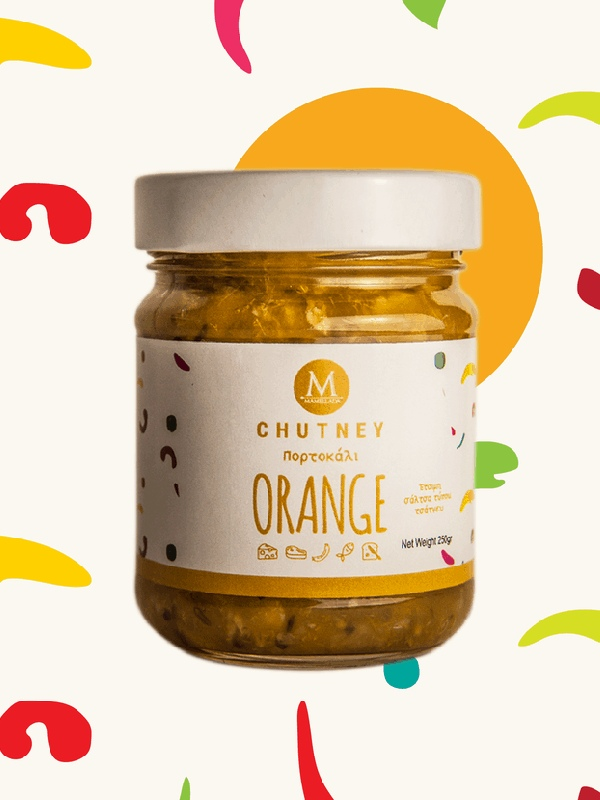 chutney με πορτοκάλι και κύμινο σε βάζο
