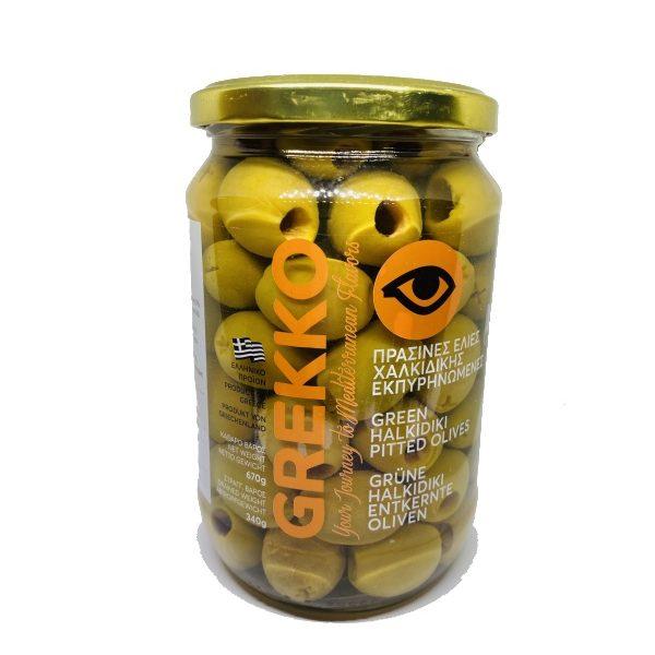 πράσινες ελιές Χαλκιδικής χωρίς κουκούτσι σε βάζο