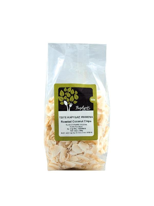 βιολογικά τσιπς καρύδας ψημένα σε διάφανο σακουλάκι