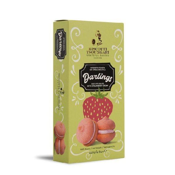 γεμιστά μπισκότα με φράουλα σε χάρτινη συσκευασία