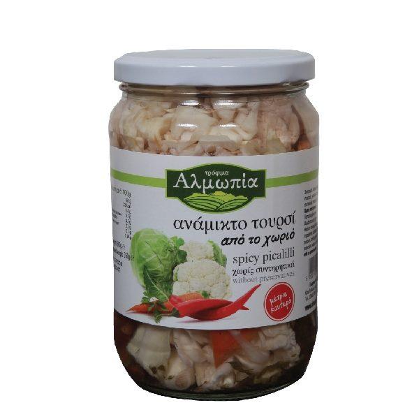 τουρσί με διάφορα λαχανικά σε βάζο