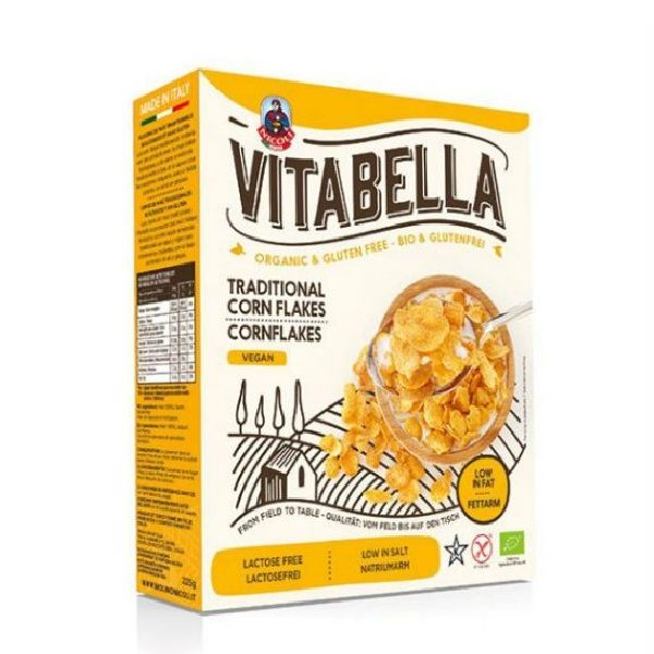 βιολογικά δημητριακά σε νιφάδες καλαμποκιού σε χάρτινη συσκευασία