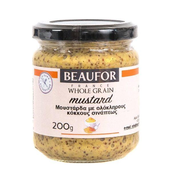 μουστάρδα με ολόκληρους σπόρους σιναπιού σε βάζο